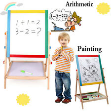 Kids Wooden Double Sided Art Easel Stand Chalk Chalkboard Magnetic Writing Board