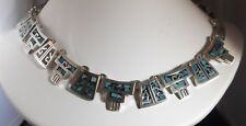 VERY IMPRESSIVE STERLING SILVER & TURQUOISE BIB NECKLACE  17 INCHES