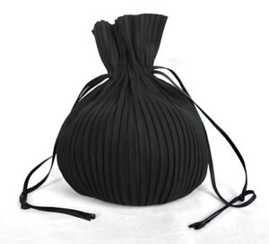 ISSEY MIYAKE Fete Black Pleated Drawstring Pouch Bag
