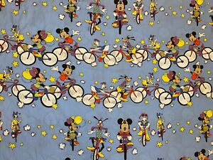 VTG 80s Disney Mickey Minnie Mouse Goofy duck Duvet Cover Fabric Sheets Bedding