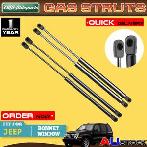 4x For Jeep Cherokee KJ Series 2001 2002-2007 Bonnet+Window Glass Gas Struts