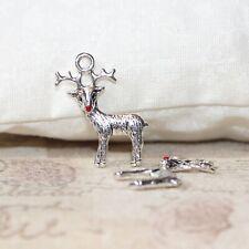 4 Tibetan Silver 3d Renne Pendentif Charms Noël Xmas nez rouge
