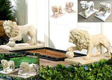 Regal Lion Statue/Sculpture Duo w/ Paw on Orb Walking *Walk Entry Garden* Nib