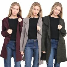 Women Soft Material Knitted Jumper Ladies Open Front Cardigan Top Hood Sweater