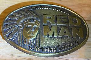 "Vintage1988 Red Man Chewing Tobacco ""America's Best Chew"" Belt Buckle Pinkerton"
