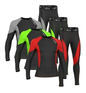 Mens Compression Tights+Top Pants Base Layer Skin Tights Shirt Armour Full Suit