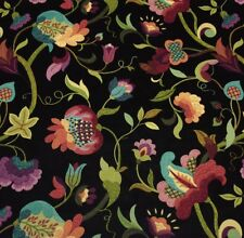 "RICHLOOM GLORIA PRISM BLACK FLORAL VINE LINEN MULTIUSE FABRIC BY YARD 54""W"