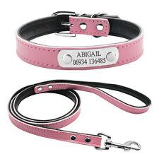 Custom Leather Dog Collar & Leash Set Name Plate ID Collar Engraved Free  S M