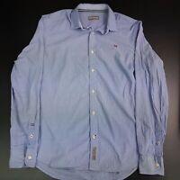 Napapijri Mens Shirt SMALL Long Sleeve Blue Regular Fit  Cotton