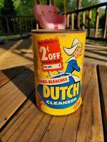 Vintage 1955 Old Dutch 14 oz Cleanser. Unopened. Purex Corporation Chases Dirt