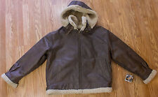 Wilson's Flight Faux Shearling 100% Leather Jacket Hooded Brown Size Men's L
