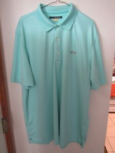GREG NORMAN SHARK LOGO LIGHT BLUE PLAY DRY POLO GOLF SHIRT 2XL XXL