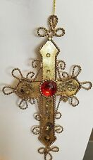GiftCraft Metal Gold Cross Shiny Red Crystal Holiday Christmas Tree Ornament New