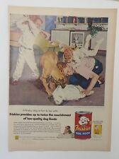Original Print Ad 1955 FRISKIES Dog Food Vintage Artwork Pillow Fight
