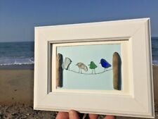 Unique ONE OF A KIND Sea Beach Glass Drift Wood Birds On Clothes Line Framed Art