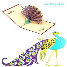 3D Pop Up Peacock Handmade Luck Greeting Card Kirigami Mother's Day Thanks Gift