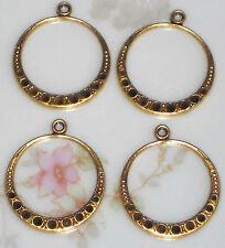 #1430D Vintage Drops Round Art Nouveau Dangle Brass Chandelier Earring Findings