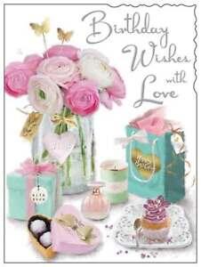 "Jonny Javelin Open Female Birthday Card - Roses in Vase Candle Cupcake 7.25x5.5"""