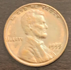 """1955 """"Double Die Obverse"""" Lincoln Cent Sharp From Old Collection Estate"""