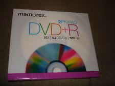 MEMOREX DVD+R 2 PACK  16X 4.7GB 120MINS LOT OF 4