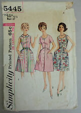 Simplicity 5445 sz 16 1/2 Shirt Style Dress Scoop Neck 1964 Sewing Pattern Cut