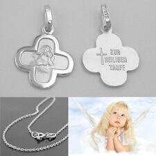 Baby Schutz Engel Kreuz Zur Heiligen Taufe Echt Silber 925 mit Rundanker Kette