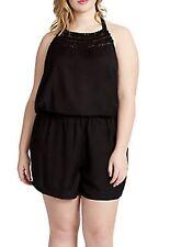 NWT~Jessica Simpson~PLUS Size~Black Embroidered Halter Macrame Romper~1X~$79.50