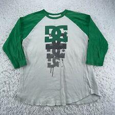 DC Shoes Shirt Adult Large White Green Raglan Skate Skateboarding Long Sleeve G1