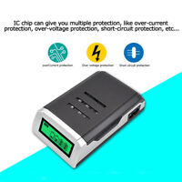 Fast Intelligent 4 Battery Charger For AA/AAA NiCd NiMh Rechargeable Batteries