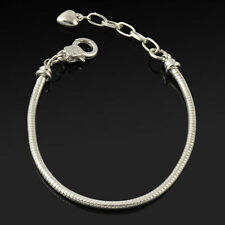 SWEET GIRLS SILVER  PLATED LOBSTER SNAKE CHAIN BRACELET.SUITABLE EUROPEAN CHARMS
