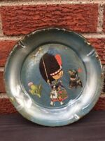 Glass Ashtray Scottish themed Thistle Dog Terrier Cigar Scotland blue Decor