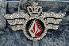Men Metal Belt Buckle Western Cowboys Long Silver Wings Red Diamond King Crown