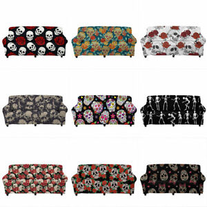Floral Skull Sofa Cover Stretch Slipcover Elastic Couch Cover Washable Protector