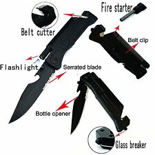 "8"" Multi-Purpose Survival Folding Pocket Knife,Fire Starter Flint & LED Light"