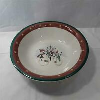 "Royal Seasons 10"" Serving Bowl Christmas Snowmen Winter Stoneware Exclnt"