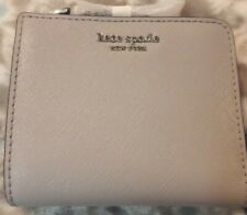 NWT Kate Spade Cameron Small L-Zip Bifold Wallet Soft Taupe Leather $129