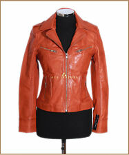 Women Smart Military Leather Jacket Genuine Lambskin Leather Orange Biker Jacket