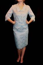 M~L VTG 50s 2pc DRESS SUIT LAVENDER BLUE LACE JACKET + PENCIL SKIRT Cocktail