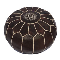 """Handmade Genuine Leather Moroccan Pouf Footstool Ottoman Brown 18"""" height"""