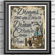 ART PRINT ON ORIGINAL ANTIQUE BOOK PAGE Wizard Of Oz Dorothy Dreams Dictionary