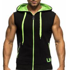 Mens Sleeveless Hoodie Hooded Sweatshirt Slim Fit Sports Casual Vest Jacket Tops