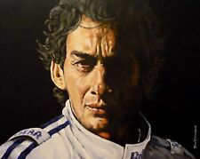 "ORIGINAL DON CAMERON ""Ayrton Senna"" F1 Formula 1 Williams PORTRAIT PAINTING"