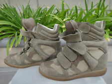 Isabel Marant Bekett Wedge Sneakers Leather & Suede Sz EUR37 US6.5-7 Taupe Beige