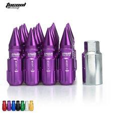 20pcs 12x1.25 Locking Lug Nuts With Spikes W/Key For Nissan Subaru Suzuki Purple