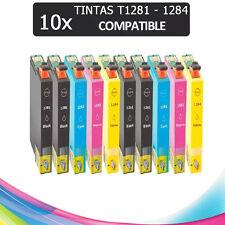 10 CARTUCHOS DE TINTA COMPATIBLE NON OEM PARA EPSON T1281 T1282 T1283 T1284