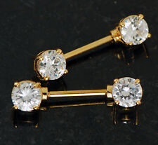 """Steel Round C.Z. Nipple Rings Barbells Pair 14g 9/16"""" Gold Plated On Surgical"""