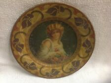 Antique Art Nouveau Metal Plate Painted A Beautiful Woman