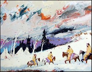 """Earl Biss """"High Mountain Campground""""Serigraph on Paper Hand Signed"""