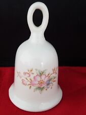 "Small Ceramic Porcelain Dinner Bell with Floral Design 3 3/4"" h"
