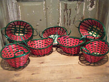 Lot of 9 Oval Fruit Gift Basket Cain Red Green Flower Christmas Handles
